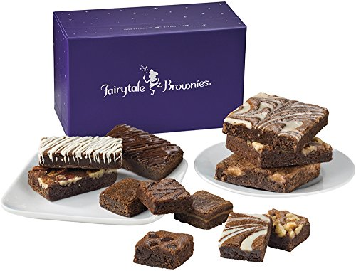 Fairytale Brownies Treasure Medley Gourmet Food Gift Basket Chocolate Box - Full-Size, Snack-Size and Bite-Size Brownies - 12 Pieces