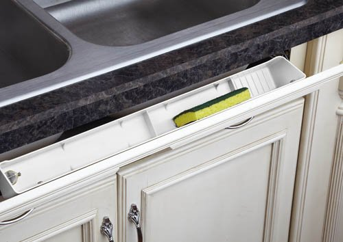 Sink Tip-Out Trays, Plastic Economy, Standard Depths, White finish(1) Deluxe Tray & (1) Pair Hinges Packaging, 24