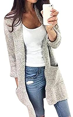 Betteraim Women's Long Sleeve Solid Color Knitted Sweater Cardigan
