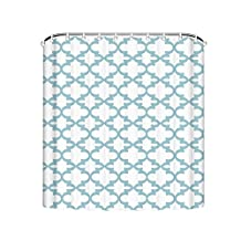 Quatrefoil Shower Curtains Ployester Soft Light Blue and White Bath Curtain Nice Shower Curtains 48*72inch
