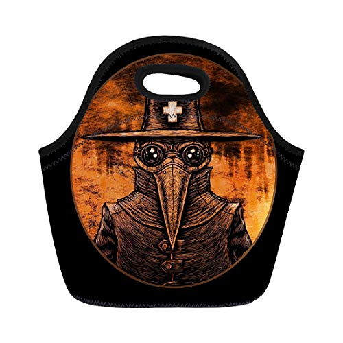 Semtomn Neoprene Lunch Tote Bag Bubonic Plague Doctor Graphic on Fire London Old Abstract Reusable Cooler Bags Insulated Thermal Picnic Handbag for Travel,School,Outdoors, Work ()