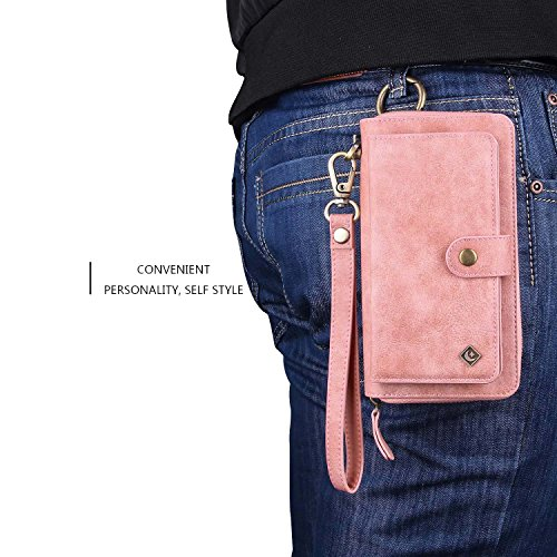 Galaxy S9 Plus Wallet Phone Case,GX-LV Samsung Galaxy S9 Plus Wallet Case Leather Case Cover Zipper Pouch with 14 Card Holder,Magnetic Detachable Case For Samsung Galaxy S9 Plus (Pink) by GX-LV (Image #6)