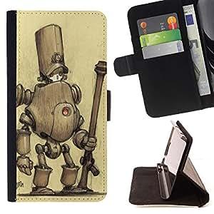 BullDog Case - FOR/Samsung Galaxy Note 4 IV / - / robot sad monster cute drawing sketch /- Monedero de cuero de la PU Llevar cubierta de la caja con el ID Credit Card Slots Flip funda de cuer
