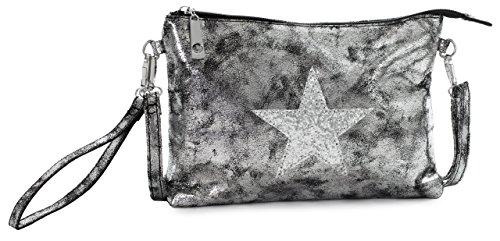 Big Handbag Shop Vegan Leather Fashion Trendy Designer Inspired Small Size Glitter Star Clutch Wristlet Messenger Crossbody Shoulder Bag Metallic - Deep Silver