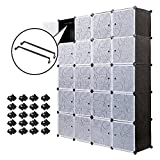 PONTUEL ESCARGOT Interlocking Plastic Wardrobe Cabinet Storage for clothes Translucent Decorative Patterns, Elegant Black & White (20 cube)