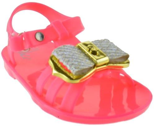 00598e3637cc Ashley Baby Girls Gladiator Jelly Rhinestone Bow Flat Sandals Pink 5 Toddler