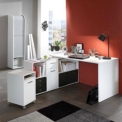 Büromöbel Eckschreibtisch Set TRAVAILLO115 Weiß