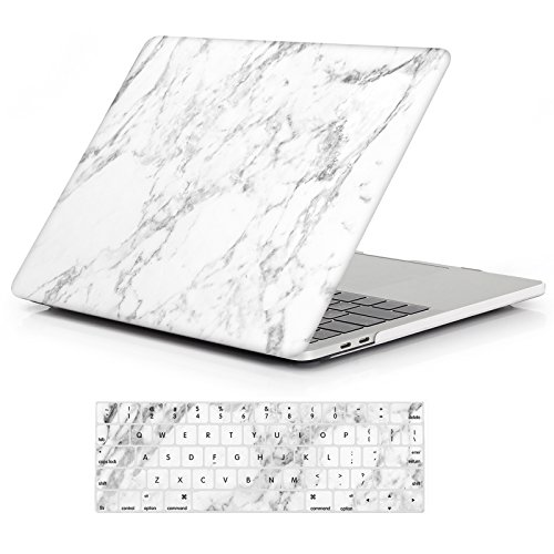 iCasso MacBook Pro 13 Case 2018 2017 2016 Release A1989/A1706/A1708,Rubber Coated Shell Cover & Keyboard Cover Compatible Newest Mac Pro 13 Model with/Without Touch Bar and Touch ID -White Marble