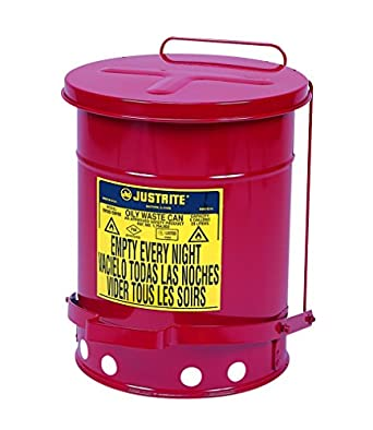 Justrite 09100; Galvanized-steel; Safety cans; For Oily waste; Red; Foot Operated cover; Raised, ventilated Bottom; Reinforced ribs; Self-closing; UL listed; FM approved; Capacity: 6 gal. (23L)