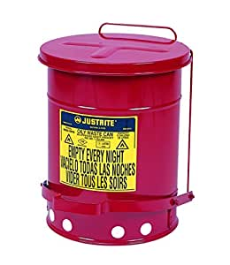 Justrite J09100  09100; Galvanized-steel; Safety cans; For Oily waste; Red; Foot Operated cover; Raised, ventilated Bottom; Reinforced ribs; Self-closing; UL listed; FM approved; Capacity: 6 gal. (23L)