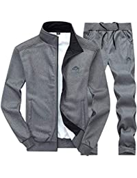bc77855afc Men s Hooded Athletic Tracksuit Full Zip Casual Jogging Gym Sweat Suits