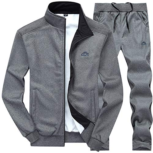 (MANTORS Men's Hooded Athletic Tracksuit Full Zip Casual Jogging Gym Sweat Suits 03DARKGray-M)