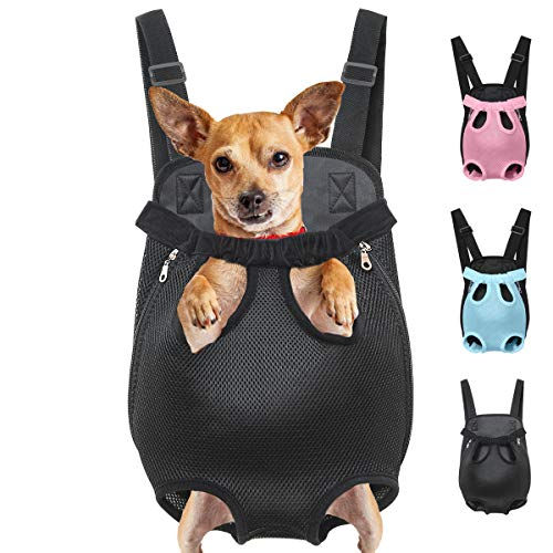 Henkelion Dog Carrier Backpack Front Pack, Pet Carrier Back Pack for Small Medium Cat Puppy Doggie, Dog Body Carrying Bag Sling Backpack, Dog Treat Holder for Chest - Black - Small