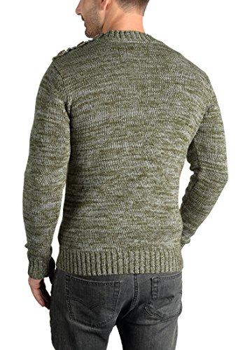 scollo 3797 Solido pranay per 100 in cotone uomo edera di maglione verde rotondo maglione con lavorato maglia grande a di pHpSqw7