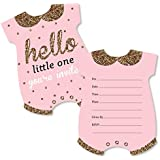 Hello Little One - Pink and Gold - Shaped Fill-In Invitations...