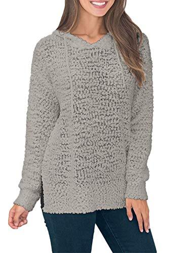 - Asvivid Womens Casual Hooded Knit Sweater Popcorn Winter Warm Pullover Lightweight Hoodies Plus Size 1X Grey