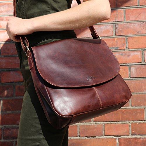 403614dcacfd9 SID   VAIN Schultertasche Leder Bianca Handtasche Damen Umhängetasche echte  Ledertasche Damentasche braun  Amazon.de  Koffer