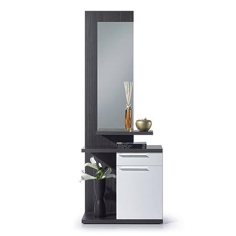 Habitdesign 016746G - Recibidor con espejo, mueble entrada acabado en color Gris Ceniza y Blanco Brillo, medidas: 186 x 61 x 29 cm de fondo