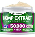 Pain Relief Hemp Cream - 50,000MG Hemp Extract - Natural Formula with MSM, Aloe Vera, Emu Oil & Menthol - Made in USA - Perfect for Joint, Muscle, Sciatica & Back Pain - Rich in Omega 3-6-9