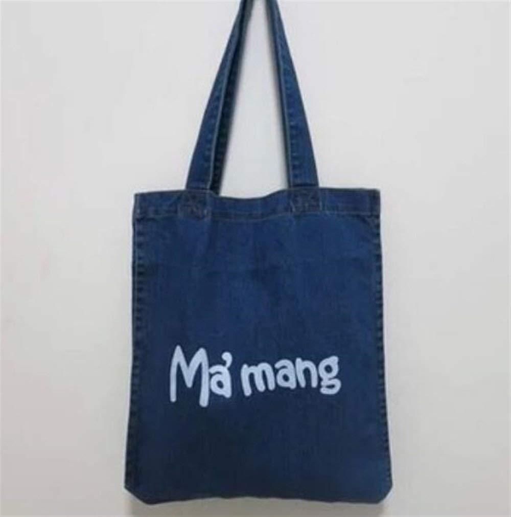 WHXYAA Female Shoulder Denim Bag Environmentally Friendly Tote Bag Deep Blue Shopping Bag Mummy Bucket Bag Canvas Bag