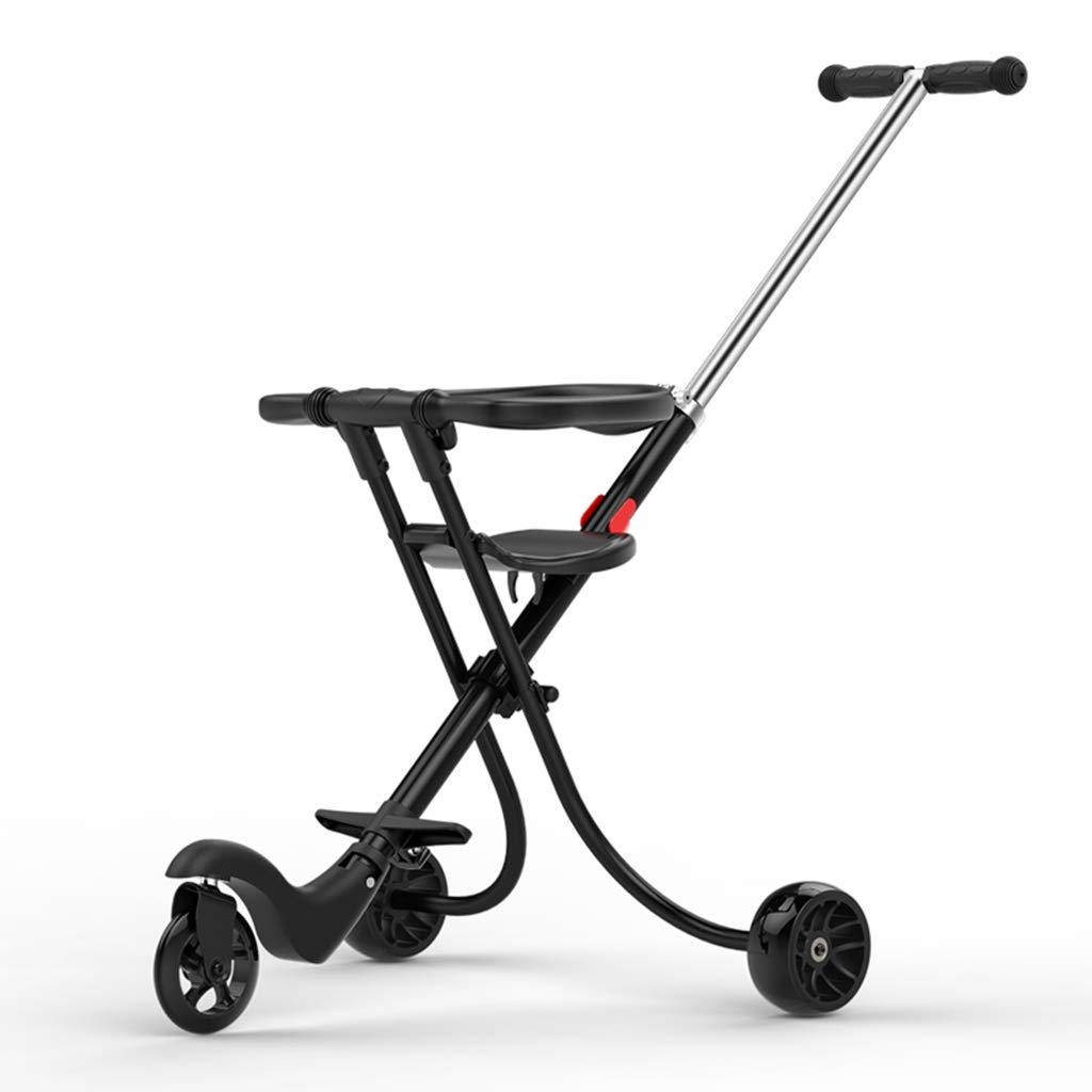 赤ちゃんの子供の三輪車トロリーアルミニウム合金シンプルな軽量折りたたみブラック (色 : C)  C B07GZQPSFX