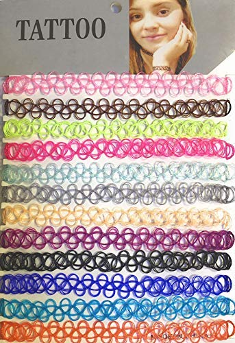 (Syleia Set of 12 Colorful Stretchy Adjustable Chokers, Comfort Fit)