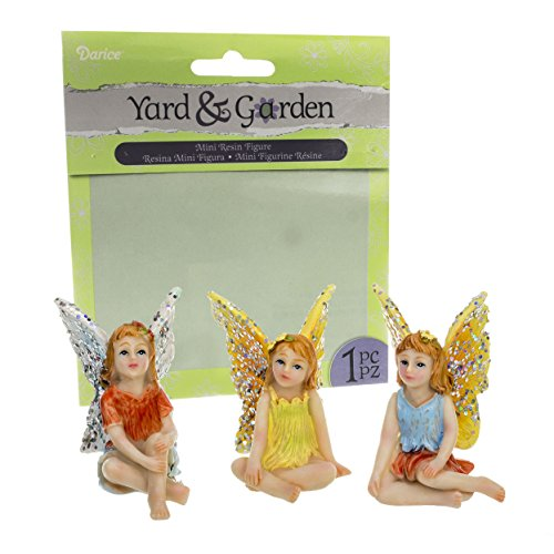 [Bundle - Set of 3 Assorted Mini Resin Meditating Fairy Figures 1.75 x 2.25 Inches] (Garden Figure)
