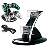 PS3 Charger,YANX LED Dual Controller Charger Dock Station Stand Charging for Playstation PS3 - Black