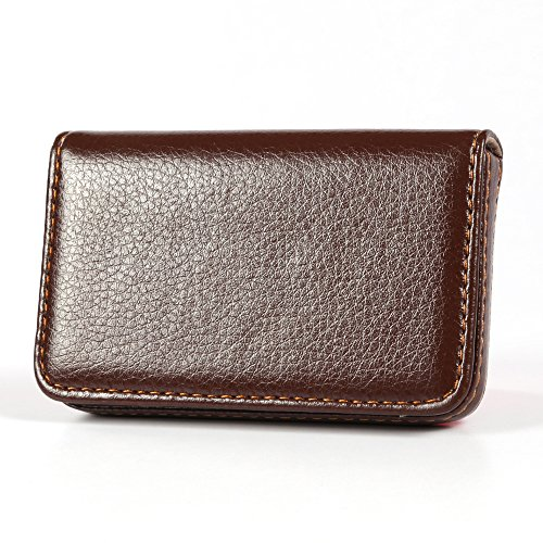 KINGFOM Flip Style Pu Leather Business Name Card Holder Case Wallet Credit Card Book with Magnetic Shut (Brown)
