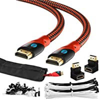 MAXIMM HDMI High Speed Cable 30FT For Ethernet 3D 4K Audio Return Blu-Ray Playstation XBox & Streaming. Red & Black Braided Cable 30AWG - Cable Sleeve Ties Clips 90 & 270 Degree Adapter Included