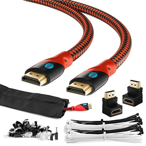 Maximm HDMI High Speed Cable 15FT For Ethernet 3D 4K Audio Return Blu-Ray Playstation XBox & Streaming. Red & Black Braided Cable 30AWG - Cable Sleeve Ties Clips 90 & 270 Degree Adapter Included