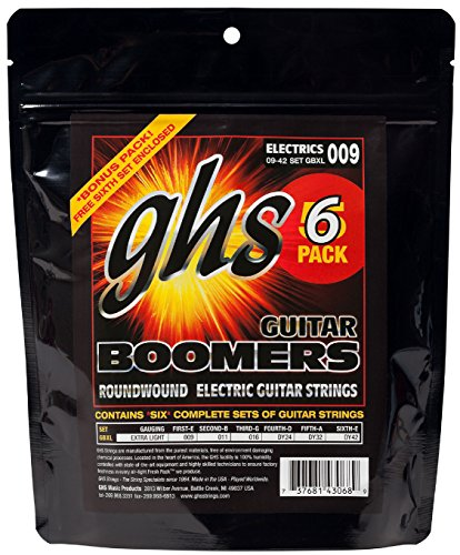 GHS Boomers GBXL Extra Light Electric Guitar Strings (9-42) 5-Pack (Standard)