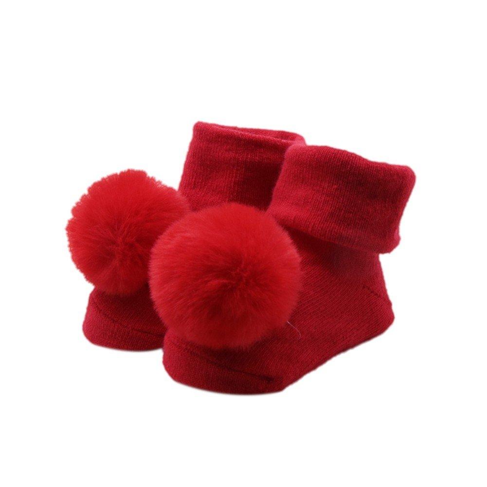 BOBORA Baby Girl Infants Cotton Socks Autumn Winter Warm Pom Pom Balls Antislip Ankle Socks for 0-12 mths BO-UK725-JM0175P