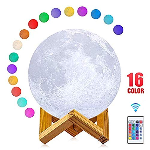 Moon Lamp, AmazeFan 16 Colors 3D Printing Moon Night Light with Stand & Remote & Touch Control and USB Rechargeable, Best Gifts for Baby Kids Lover Birthday Party Christmas