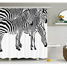 Safari Decor Shower Curtain Set by Ambesonne, Group Of Zebras African Animals Skin Print Stripes Jungle Wildlife Picture Art, Bathroom Accessories, 69W X 70L Inches Black White
