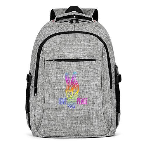 Price comparison product image Peace Symbol Vectors Rainbow Gray Men Women Travel Laptop Backpack Hiking BackpackSchool Backpack Gray