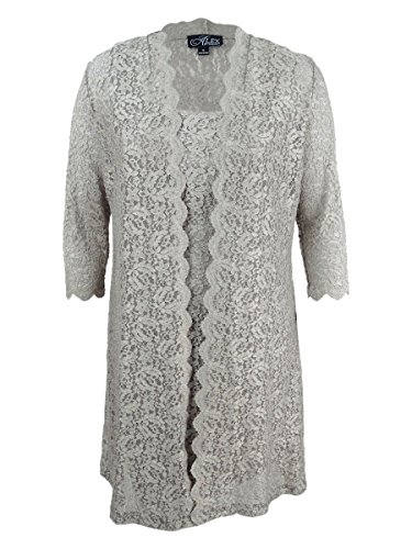 Alex Evenings Women's Long Jacket with Lace Dress (Petite and Regular Sizes), Antique Nickel 6