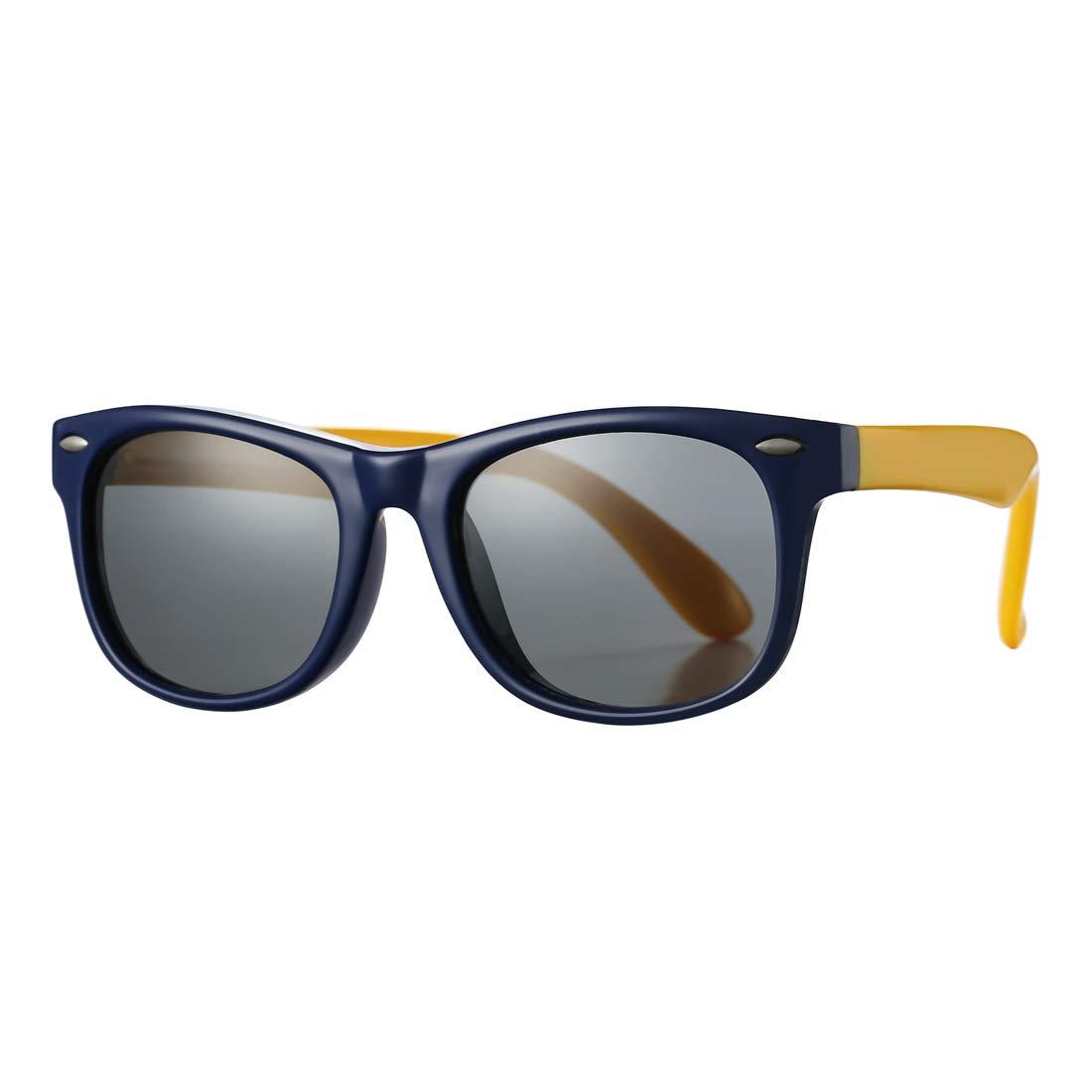 Kids Polarized Sunglasses TPEE Rubber Flexible Shades for Girls Boys Age 3-10 (Blue Frame/Grey Lens)