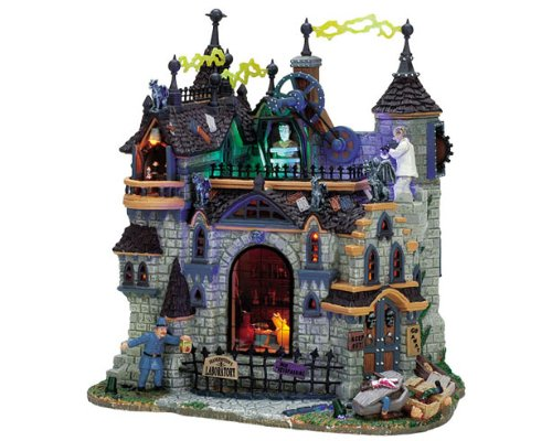 Lemax Spooky Town Village Frankenstein's Laboratory Animated Building #75501 -