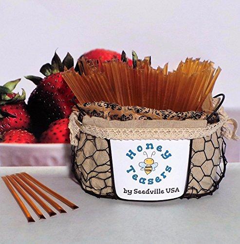 Honeystix Straws - New 5 Pack STRAWBERRY HONEY TEASERS Natural Honey Snack Sticks Honeystix Straws