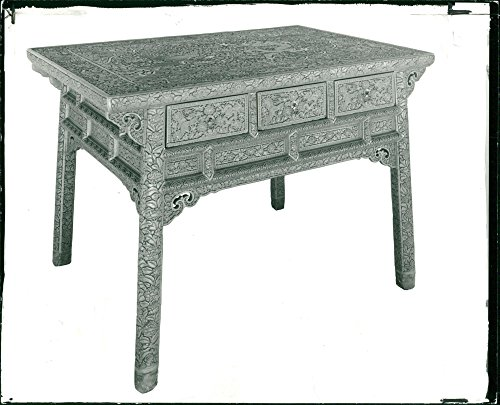 Vintage photo of A rare 15th century Chinese lacquered table shown at the Victoria & Albet Museum ()