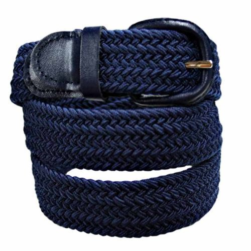 Luxury Divas Navy Blue Braided Elastic Stretch Belt Size X-Large