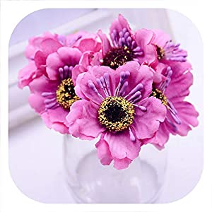 Memoirs- 6pcs 3.5cm Mini Silk Cherry Artificial Poppy Bouquet DIY Handmade Tattoo Wreath Scrapbook Wedding Decoration Craft Fake Flower 99