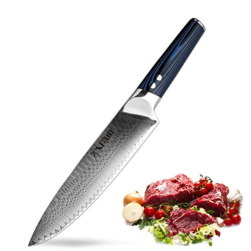XITUO 8-inch Chef Knife Japanese VG 10 High Carbon Damascus Stainless Steel Kitchen Knife with Ergonomic Micarta Handle and Razor Sharp Blade For Dealing Meat, Fruits and Vegetables by XITUO