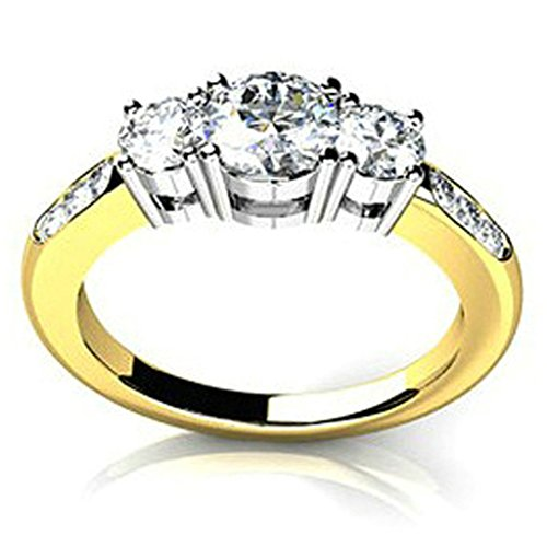 925 Sterling Silver Women Wedding Band and Engagement Rings Cubic Zirconia Three Round Gold Size 7.5