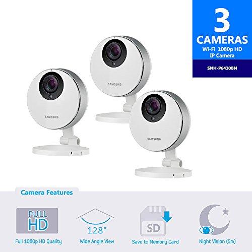 Samsung SmartCam HD Pro SNH-P6410BN Full HD 1080p WiFi Camera Bundle Triple...
