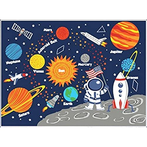 Kids Rug Educational Learning Carpet Galaxy Planets Stars Blue 33 X 45 Childrens Fun Area Nursery Rugs Solar System Rectangle By HUAHOO