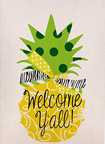 (Dyrenson Pineapple Garden Flag Welcome Yall Double Sided, Yellow House Yard Flag, Tropical Garden Yard Decorations, Home Decorative Vertical Holiday Seasonal Outdoor Flag 12.5 x 18)
