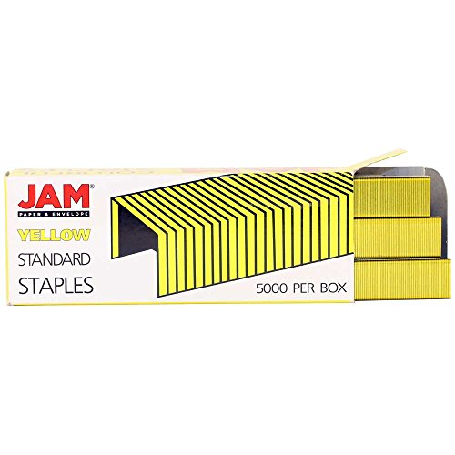 JAM Paper Standard Size Colorful Staples - Yellow - Box of 5000
