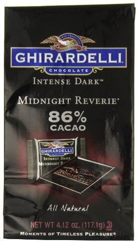 Ghirardelli chocolat intenses Squares sombre, noir minuit Reverie, 4,12 onces, (pack de 4)